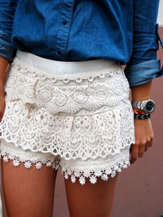 denim and lace. obsessed with these shorts! Denim And Lace, White Lace Shorts, Denim Top, Eyelet Shorts, Lace Skirt, Lace Jeans, Chambray Top, Dark Denim, Midi Skirts