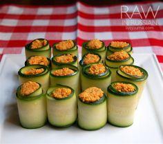 raw recipes zucchini rolls - carrot walnut pate