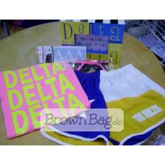 Delta Delta Delta Bid Day packages available in stores or online today! Bid Day Gifts, D Brown, Online Gifts, Sorority, Beach Mat, Outdoor Blanket