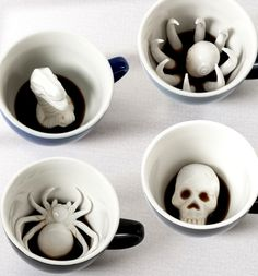 ☕ Creepy creature coffee cups  ☕ http://www.skullclothing.net