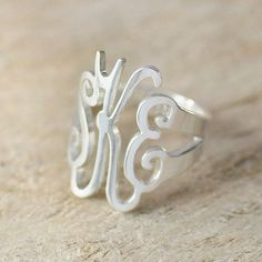 initial monogram ring hand made name ring 925 sterling silver