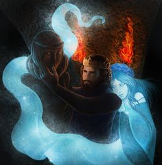 """Robert Baratheon looking at Lyanna Stark's statute in the crypts of Winterfell. By Eeren. From the TV series """"[S]he was the one thing I ever wanted. Someone took her away from me, and seven kingdoms couldn't fill the hole she left behind."""""""