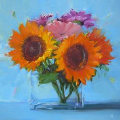 Susan Nally: A Painter's Journal: Sunflowers in Square Vase