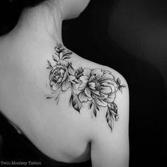 """Where flowers bloom, so does hope"" ~Lady Bird Johnson #twinmonkeytattoo #tattoooftheday #flower #bw #blxckink #btattooing #vsco #vscocam #tattooart #inked #intenze #sharon_alday #tattoo #line #peony..."
