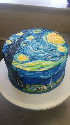 Less than two hours later. Unbelievable Van Gogh Cake Will Make You Starry Eyed! Pretty Birthday Cakes, Homemade Birthday Cakes, Pretty Cakes, Beautiful Cakes, Amazing Cakes, Cake Birthday, Crazy Cakes, Fancy Cakes, Cake Cookies