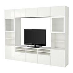 BESTÅ TV storage combination/glass doors - white/Selsviken high-gloss/white frosted glass, drawer runner, soft-closing - IKEA