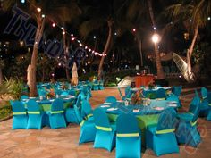 Stretch / Spandex chair covers - THUNDER AND LIGHTNING LIGHT STRING & SPANDEX CHAIR COVERS   Aruba Wedding Cakes
