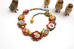 ***Textile jewelry finds #textilejewelry #fashion #design Colorful owl textile necklace crochet with fabric by rRradionica, $93.00