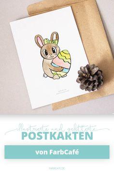 Süßes Osterhäschen Mit Osterei Auf Einer Postkarte.