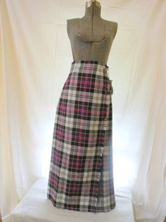Womens Maxi Kilted Skirt in Lovely Plaid Made in by MadVarietyShow, $27.00