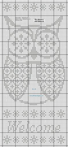 Cross-stitch pattern, but can also be used for a crochet piece, filet or filled: Owl Cross Stitch Owl, Cross Stitch Animals, Cross Stitch Charts, Cross Stitching, Cross Stitch Patterns, Owl Embroidery, Cross Stitch Embroidery, Embroidery Patterns, Filet Crochet Charts