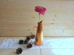 Collectible copper flower vase Industrial turned gold metal art vase Swedish vintage decorative jug Pitcher with handle Interior decoration