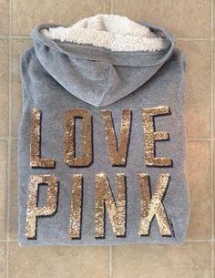 Victoria Secret PINK Sparkle Velour Fur Jacket Sz S / c #VictoriasSecret #TrackJacket