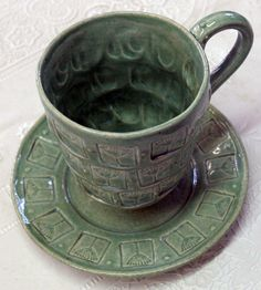 Teal Alium Stoneware Cup, Mark Strayer, North Star Pottery