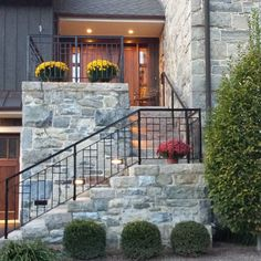 Exterior Forged Iron Railing by Mike Braddee Porch Handrails, Exterior Stair Railing, Outdoor Stair Railing, Modern Stair Railing, Iron Stair Railing, Metal Railings, Craftsman Exterior, Modern Exterior, Craftsman Homes