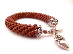 SALE  Brown Spiral Rope Bracelet Bead by lesperlesdeDiamanda, $10.00