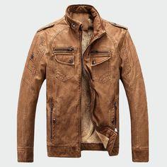 Fubotevic Mens Plus Size Biker Loose MA-1 Flight Bomber Faux Leather Jacket Coat