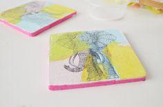 tissue paper coasters diy