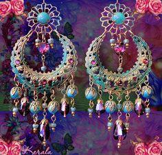 Large Exotic Moroccan Moon Earrings Turquoise Bohemian by kerala, $48.00