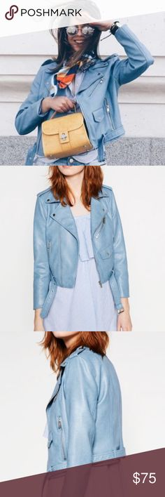 ZARA FAUX LEATHER BABY BLUE JACKET Brand new with tags, faux leather, baby blue color, silver toned hardwareprices on Ⓜ️ go up the 16th due to new fees Zara Jackets & Coats