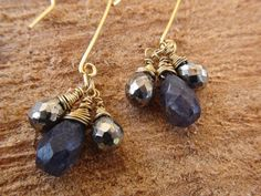 iolite and pyrite by jeweldesignsbyred on Etsy, $24.00