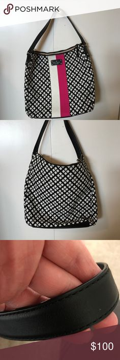 Kate Spade Mona Shoulder Bag Authentic EUC Kate Spade Mona Shoulder Bag in Black and Cream with a Pink and Cream Stripe.   Measures 13L. 12H. 5.5D kate spade Bags Shoulder Bags