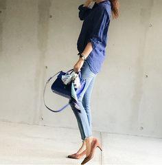 UNIQLO 秋色配色 / 濃いブルーリネンシャツ×ブラウンパンプス|UNIQLOコーディネート日記