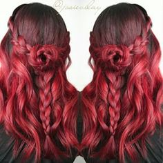 Love this red braided hairstyle