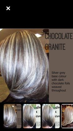 Untitled hair highlights going gray Brown Ombre Hair, Ombre Hair Color, White Hair Highlights, Grey Hair Transformation, Gray Hair Growing Out, Transition To Gray Hair, Balayage Hair, Curly Hair Styles, Hair Cuts