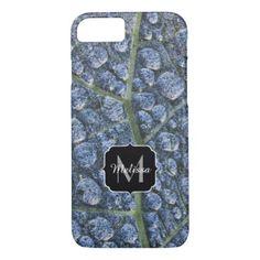Cool water drops dew texture leaf Monogram iPhone 8/7 Case - cool gift idea unique present special diy