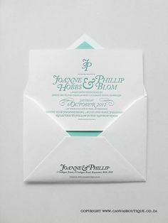 Phil & Joanne's Letterpress Wedding Invitations - Canvas Stationery Boutique Letterpress Wedding Invitations, Bespoke Design, Stationery, Boutique, Canvas, Projects, Custom Design, Tela, Log Projects