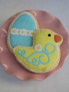Felt  Sugar Cookies Yellow Spring Duck  And Blue vivians kitchen