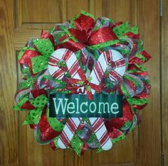 Welcome Deco Mesh Christmas Wreath by Sweet Patooties,  Refugio,  Texas
