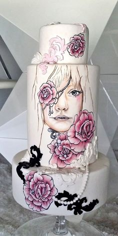 """Pintura em Bolo: - Reprodução do quadro """"Sullenly Sweet"""" da pintora Sheena Pike, segundo a técnica de pintura em bolo. Original Artwork by Sheena Pike http://sheena-pike.artistwebsites.com/ https://www.facebook.com/SheenaPikeArtCollection?fref=ts"""