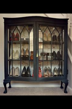 That cabinet! 8 Shoe Cabinet Suggestions: Exactly How to Arrange Shoes in a Tiny Space - Our Bright Side Refurbished Furniture, Repurposed Furniture, Furniture Makeover, Painted Furniture, Repurposed China Cabinet, Furniture Projects, Diy Furniture, Furniture Design, Shoe Cabinet