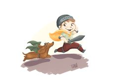 Dragon and Knight   Kid and dog dressed up  Dachshund and kid  Kids illustration by S.K.Y. van der Wel