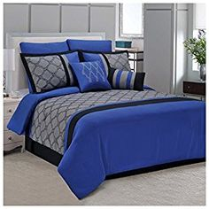 Superior Maxfield 8 Piece Embroidered Comforter Set Blue King