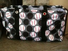 """Love the way this Large Utility Tote was """"doctored"""" by changing the white polka dots into baseballs. Could probably do it into soccer balls to!"""