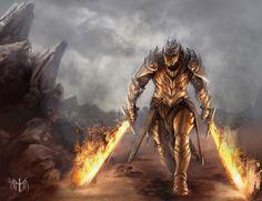 Knight of the flaming sword dual wielding paladin Fantasy Warrior, Fire Warrior, Fantasy Male, Fantasy Rpg, Medieval Fantasy, High Fantasy, Dnd Characters, Fantasy Characters, Armadura Medieval