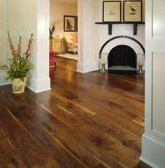 Heritage wide plank flooring in walnut.