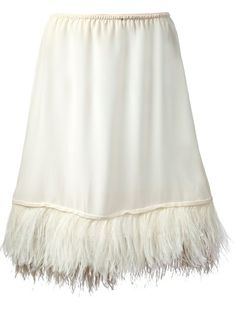ERIKA CAVALLINI SEMI COUTURE Feather Trim Under Skirt  add under a dress for style pop or to add length