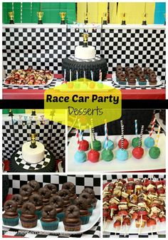 Race Car Party | Home.Made.Interest | Car party dessert table display with a checkerboard cake, cake pops, tire cupcakes and fruit skewers.
