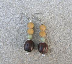 Zedernholzperle Drop Earrings, Etsy, Jewelry, Wood Stone, Jewlery, Jewerly, Schmuck, Drop Earring, Jewels