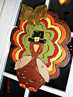 Turkey Wood Cut Out Door Hanger. $35.00, via Etsy.