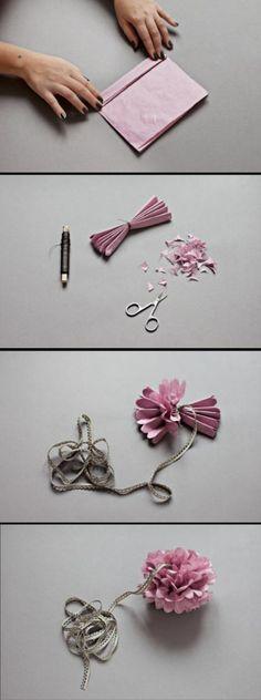 Pinspire - Pin de Auxi Gonzalez:Pompones con papel de seda para decorar.