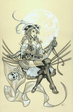 pinupgirlsart: Pirate Queen by MichaelDooney A fantastic looking lass who could be on any scalliwags arm!