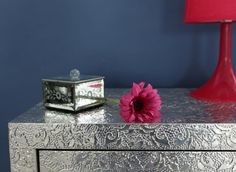 Table surface. 'Kasey' bedside table from Out There Interiors