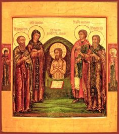 Sts. Andre, Euphrosyne, John the Much Suffering, Anatoly and Ignatius Russian Orthodox icon