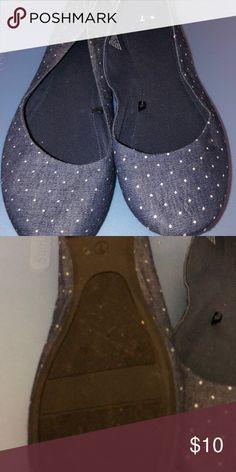 534fadcc0 Gently worn denim style flats Gently worn denim style flats with white  polka dots Shoes Flats