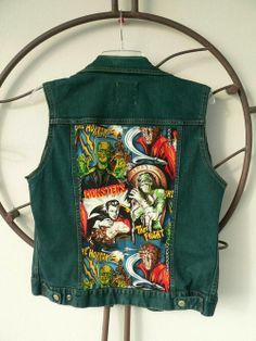 Items similar to Custom Denim Vest - Vintage Horror Classic Monsters on Etsy Hipster Jackets, Cool Jackets, Denim Jackets, Vest Outfits, Fall Outfits, Cute Outfits, Diy Clothes, Clothes For Women, Vintage Horror